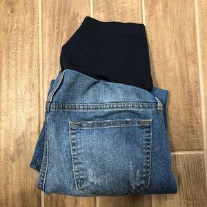 Denim - Maternity Skinny Distressed Jeans Light Wash